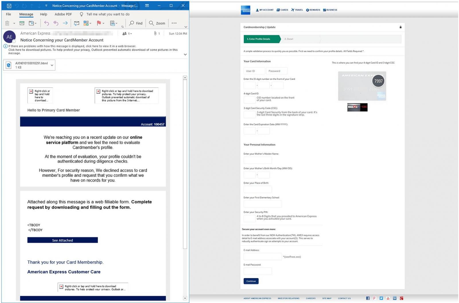 AMEX phishing campaign